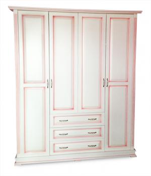 Шкаф Кардинал четырехстворчатый со встроеннным комодом (розовая патина)